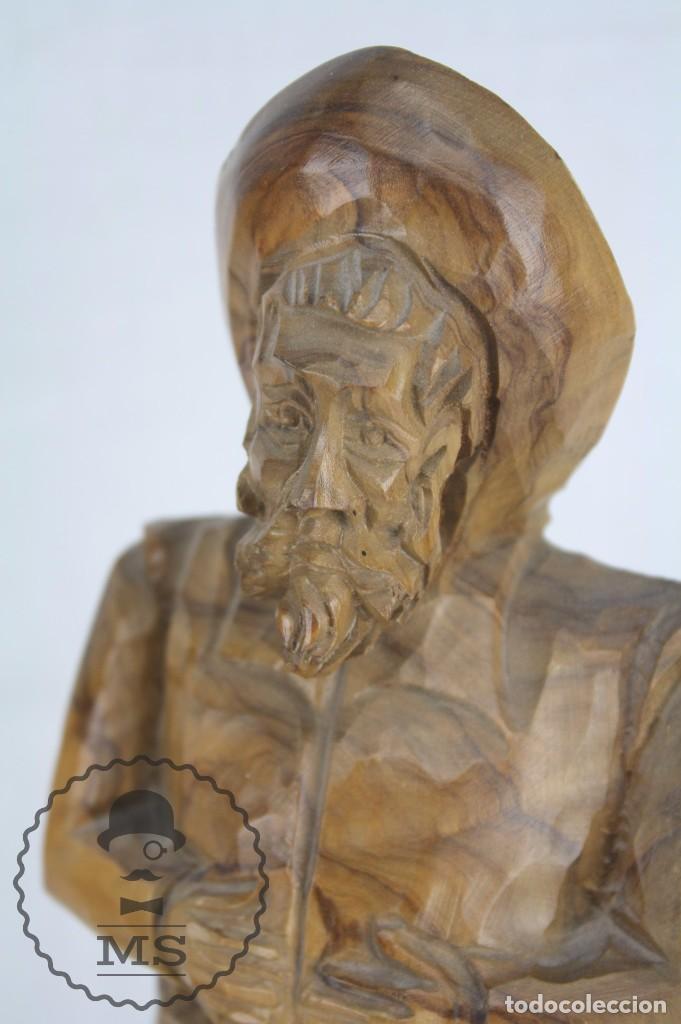 Arte: Pareja de Esculturas / Tallas en Madera - Don Quijote y Sancho Panza - Altura 35 cm y 28,5 cm - Foto 9 - 63634359