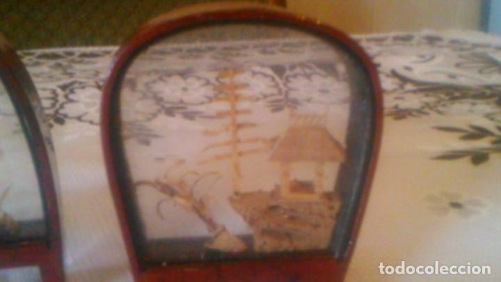 Arte: Lote de 2 urnas de madera y cristal con imágenes orientales talladas en corcho,miniaturas - Foto 3 - 63969555