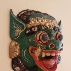 Arte: IMPRESIONANTE MASCARA ANTIGUA BALINESA DE BARONG EN MADERA TALLADA Y POLICROMADA A MANO, INDONESIA .. Lote 64805603