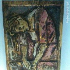 Arte: TABLA-TALLADA EN MADERA Y PINTADA-FIRMADA ,GERVAS. Lote 66940918