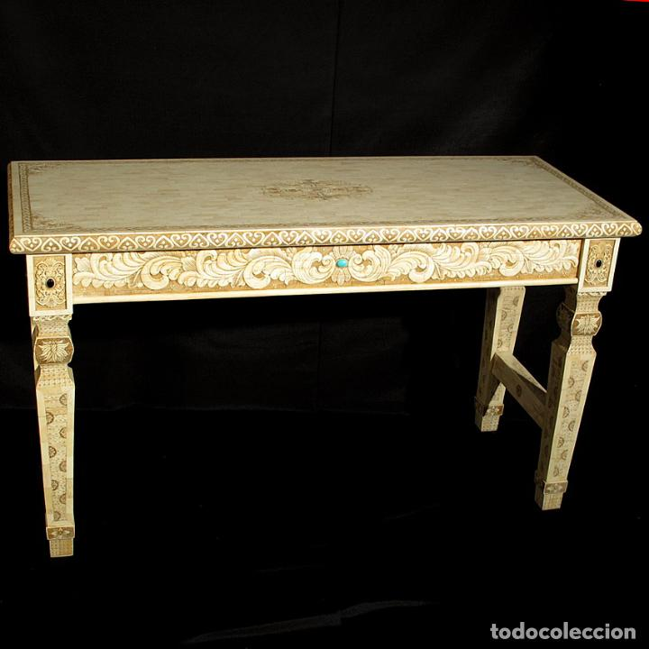 Arte: Espectacular consola de hueso tallado con detalles de turquesa y onix. 142cm. - Foto 6 - 67241325
