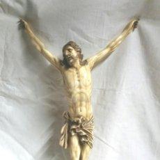Arte: CRISTO TALLA MARFIL 4 CLAVOS ÉPOCA ISABELINA S XIX, BUEN ESTADO SIN FALTAS. MED. 49 CM. Lote 68365801