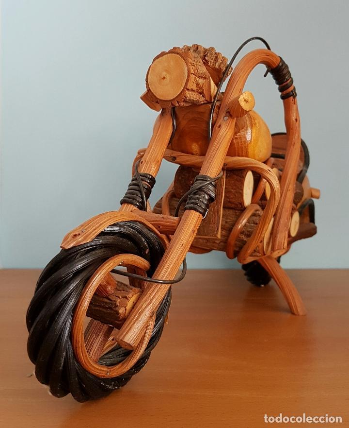 Arte: Original escultura de moto tipo Harley davidson en maderas nobles macizas a escala . - Foto 2 - 68922117