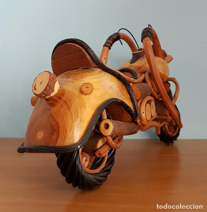 Arte: Original escultura de moto tipo Harley davidson en maderas nobles macizas a escala . - Foto 4 - 68922117