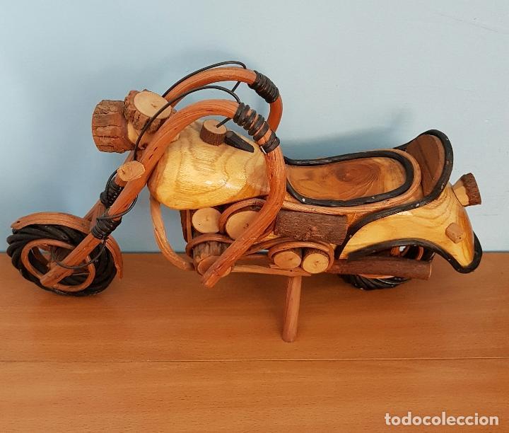 Arte: Original escultura de moto tipo Harley davidson en maderas nobles macizas a escala . - Foto 6 - 68922117