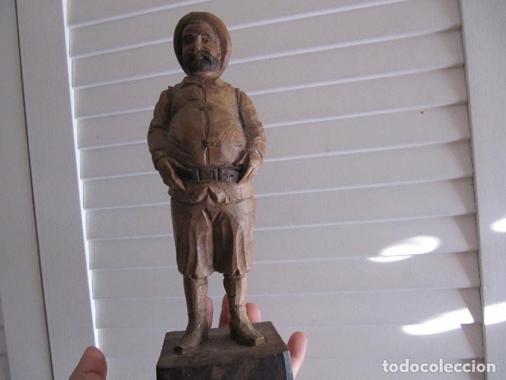 ESCULTURA FIGURA SANCHO PANZA OURO MADERA SELLADA NÚMERO DE SERIE MADE IN SPAIN (Arte - Escultura - Madera)