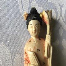 Arte: TALLA JAPONESA DE MARFIL PINTADO. JAPANESE SCULPTURE OF PAINTED IVORY. . Lote 71660359