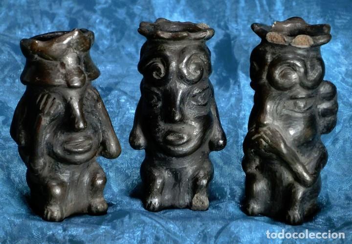 RARAS FIGURAS DE TERRACOTA NEGRA - VER - OÍR Y CALLAR - ESTILO PRECOLOMBINO - SABIDURÍA Y MISTICISMO (Arte - Escultura - Terracota )