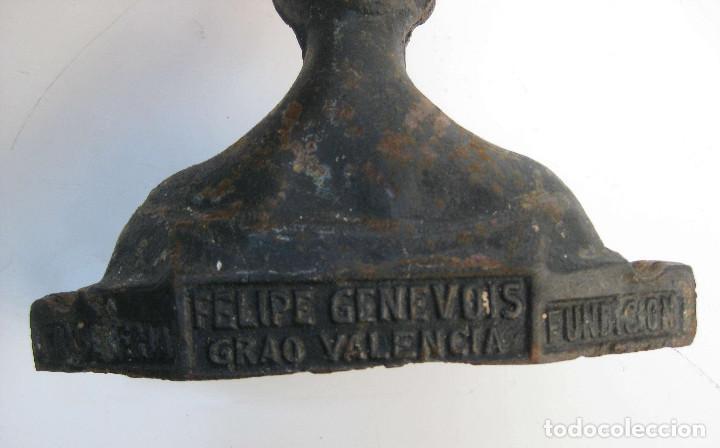 Arte: DE MUSEO 1890 BUSTO ANTIGUO HIERRO FELIPE GENEVOIS GRAO VALENCIA FUNDICION SOUVENIR DIOSA - Foto 6 - 72022067