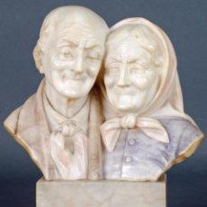 Art - Escultura mármol busto pareja ancianos E Battiglia Florencia Finales S XIX PP S XX - 72138199
