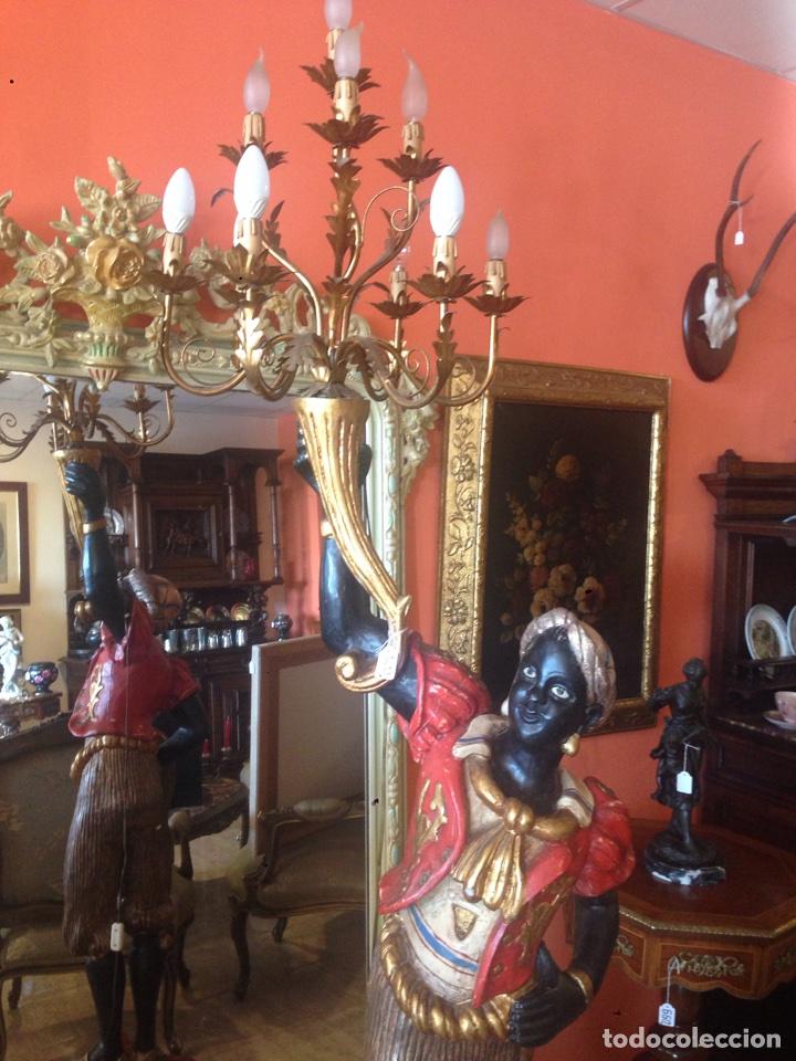 Arte: Antigua talla de madera. Estilo veneciano. Lampara. Siglo XX. - Foto 3 - 72304379