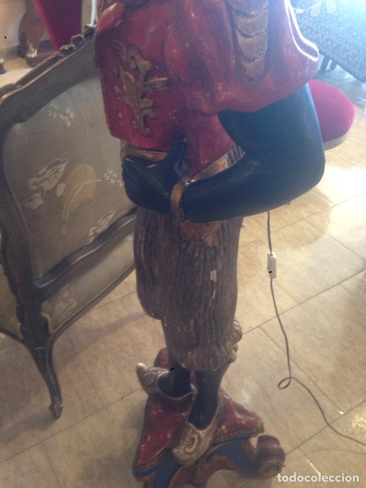 Arte: Antigua talla de madera. Estilo veneciano. Lampara. Siglo XX. - Foto 8 - 72304379