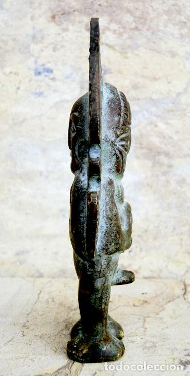 Arte: CURIOSA FIGURA DE BRONCE PATINADO - TIPO AZTECA - ICONO - PERSONAJE DUAL - MUJER Y HOMBRE - ÍDOLO - Foto 3 - 73427035