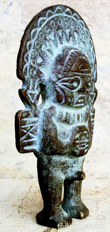 Arte: CURIOSA FIGURA DE BRONCE PATINADO - TIPO AZTECA - ICONO - PERSONAJE DUAL - MUJER Y HOMBRE - ÍDOLO - Foto 7 - 73427035