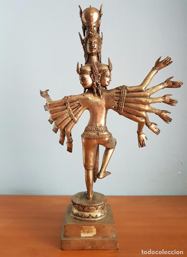 Arte: Gran escultura budista de Avalokitesvara bodhisattva de la compasión en bronce plateado, 50,5 CM . - Foto 3 - 73509347