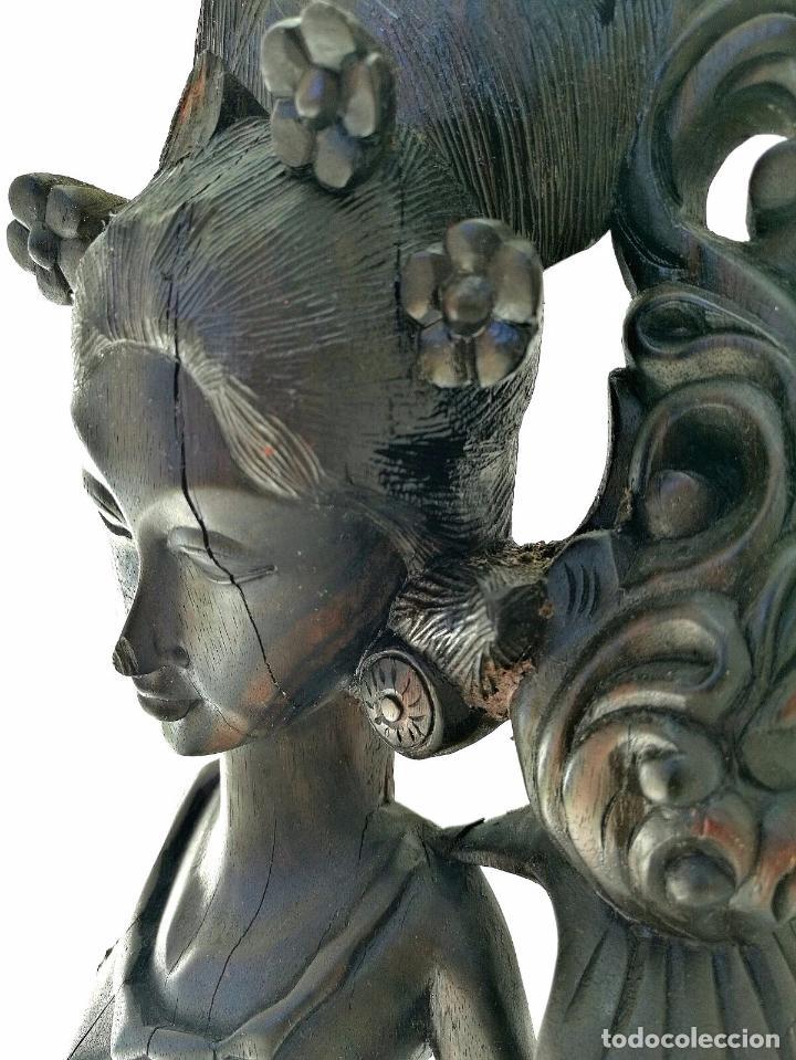 Arte: Fantástica talla asiática en ébano de makassar - Diosa Tailandesa Geisha con flores - Foto 3 - 73999239