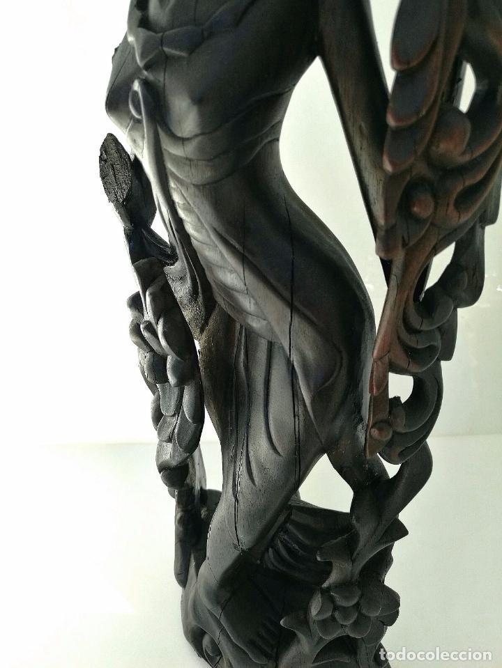 Arte: Fantástica talla asiática en ébano de makassar - Diosa Tailandesa Geisha con flores - Foto 6 - 73999239