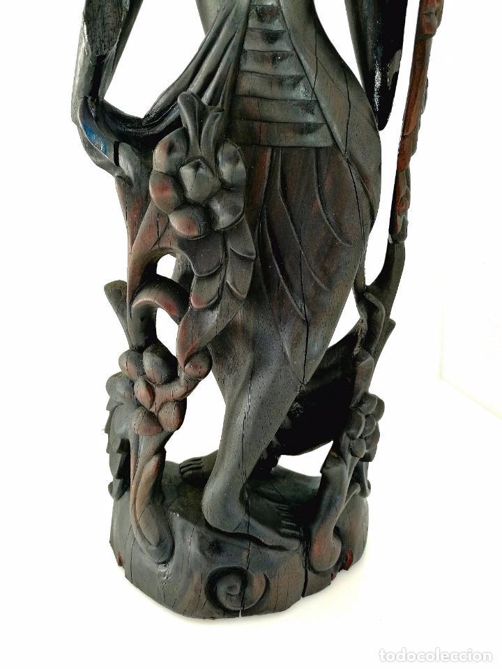 Arte: Fantástica talla asiática en ébano de makassar - Diosa Tailandesa Geisha con flores - Foto 7 - 73999239