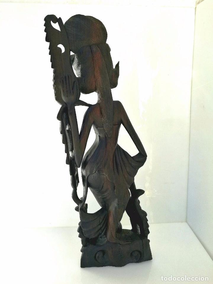Arte: Fantástica talla asiática en ébano de makassar - Diosa Tailandesa Geisha con flores - Foto 8 - 73999239