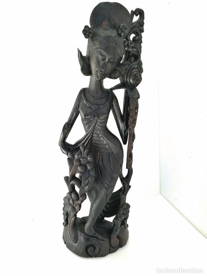 Arte: Fantástica talla asiática en ébano de makassar - Diosa Tailandesa Geisha con flores - Foto 9 - 73999239