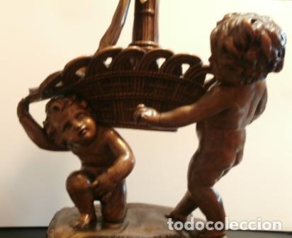 PAREJA DE QUERUBINES MADERA TALLADA (Arte - Escultura - Madera)