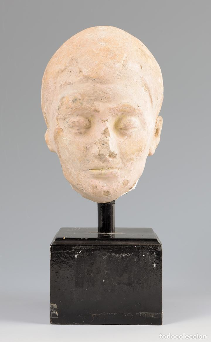 Arte: Escultura Cabeza helenística. Hacia siglos III-IV d.C. Terracota y base de madera. - Foto 2 - 74945255