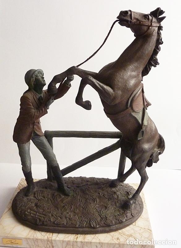 AMAZONA CON CABALLO - ARTE ROMERA - RESINA DE ALTA DENSIDAD - 1993 - NUEVA (Arte - Escultura - Resina)