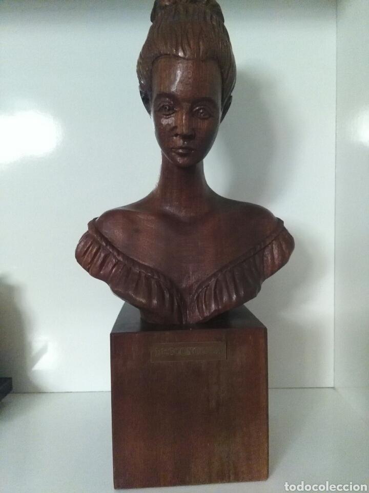 Arte: Talla de madera, busto de mujer, firmada (Merino) - Foto 2 - 79583721