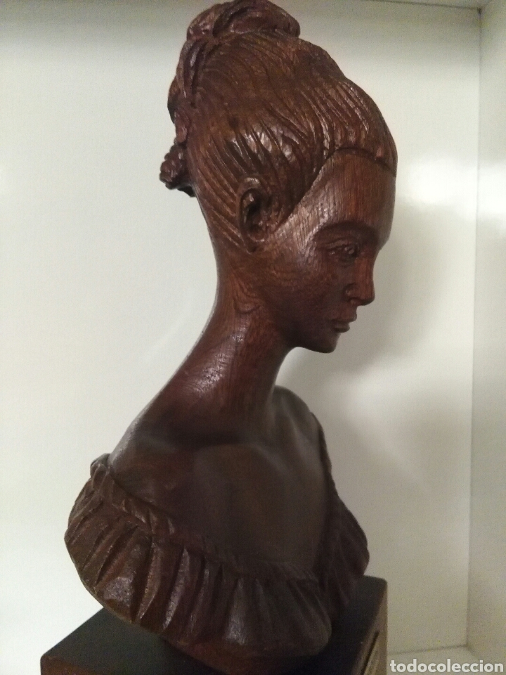 Arte: Talla de madera, busto de mujer, firmada (Merino) - Foto 4 - 79583721