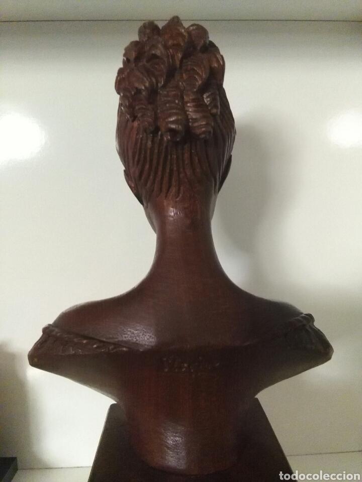 Arte: Talla de madera, busto de mujer, firmada (Merino) - Foto 6 - 79583721