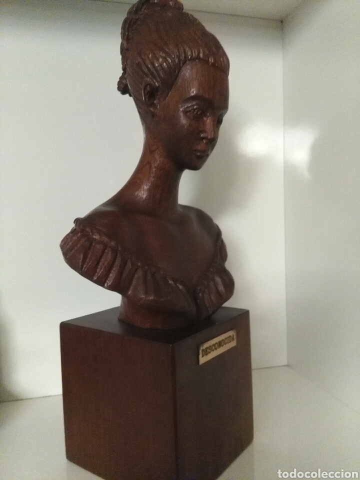 Arte: Talla de madera, busto de mujer, firmada (Merino) - Foto 8 - 79583721