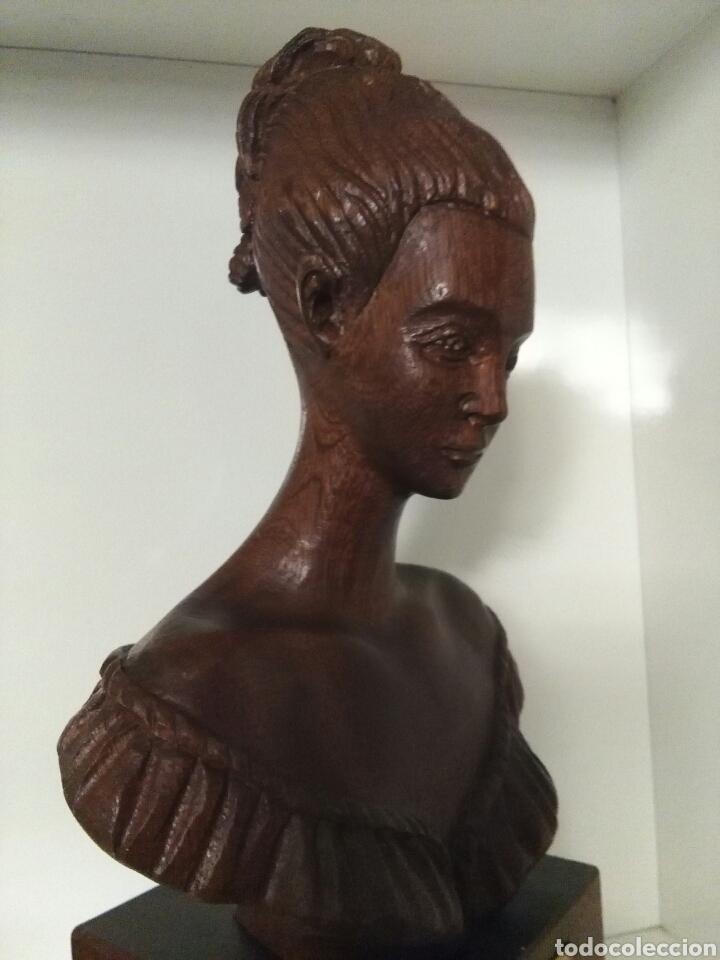 Arte: Talla de madera, busto de mujer, firmada (Merino) - Foto 9 - 79583721