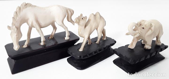 CONJUNTO DE 3 ANIMALES. HUESO. TALLADO. ESPAÑA. MEDIADOS SIGLO XX. (Arte - Escultura - Resina)