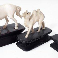 Arte: CONJUNTO DE 3 ANIMALES. HUESO. TALLADO. ESPAÑA. MEDIADOS SIGLO XX.. Lote 80003745