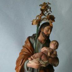 Arte: ESPECIAL IMAGEN VALENCIANA DEL SIGLO XIX DE SAN JOSE EN TERRACOTA PINTADA A MANO.. Lote 81136280
