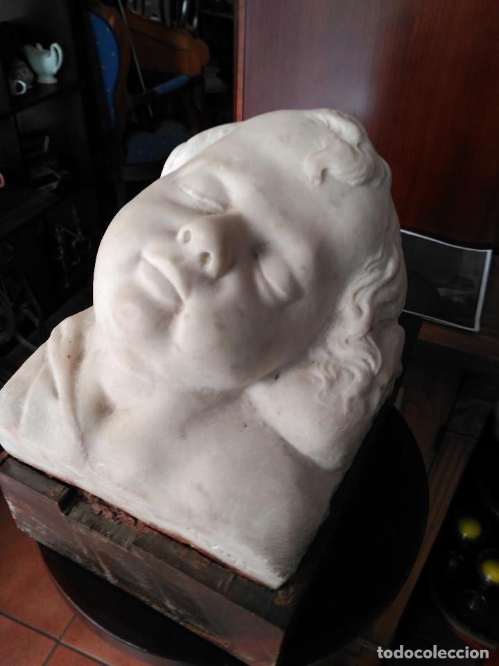 IMPRESIONANTE ESCULTURA MARMOL FIRMADA TOMAS VILA NIÑO DURMIENDO PALMA C.1893 27 MAYO 1963 17.000 EU (Arte - Escultura - Piedra)