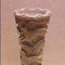 Arte: JARRÓN FLORERO / VIOLETERO TALLADO EN PIEDRA. CHA CHA MUSEUM ( INDIA ) 20 CM ALTO / PERFECTO.. Lote 82365544