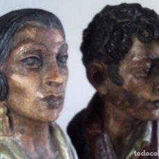 Arte: BUSTOS EN TERRACOTA DE CARMEN AMAYA Y ANTONIO VARGAS HEREDIAS. FIRMADAS EL GRANADINO L. MOLINA HARO. Lote 83566500