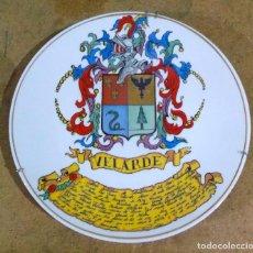 Arte: PLATO CON ESCUDO HERÁLDICO DE VELARDE DE SANTILLANA DEL MAR. Lote 84362656