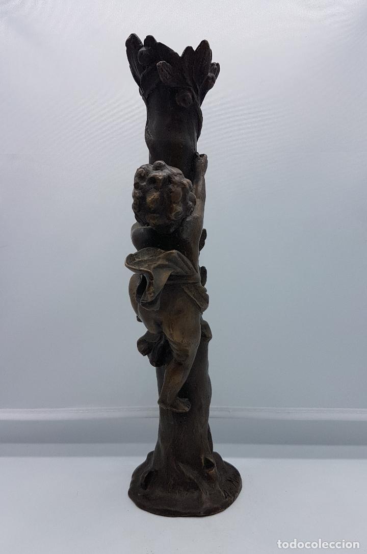 Arte: Bella escultura modernista de bronce ( Querubin subiendo a un arbol ), firmada August Moreau XIX . - Foto 3 - 86532304