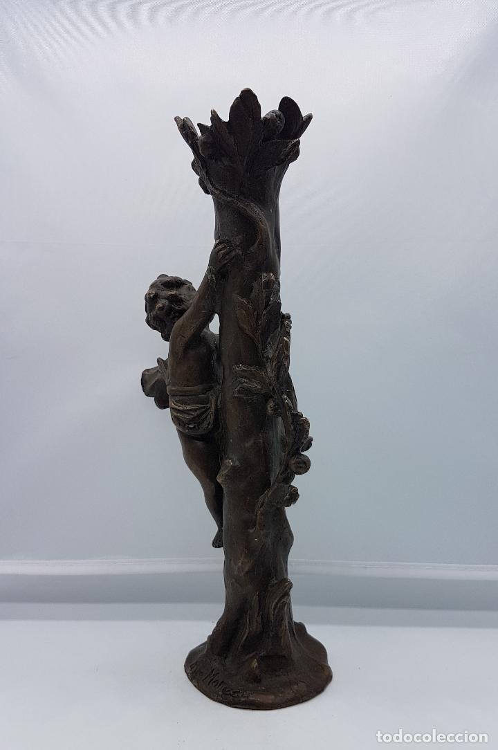 Arte: Bella escultura modernista de bronce ( Querubin subiendo a un arbol ), firmada August Moreau XIX . - Foto 6 - 86532304