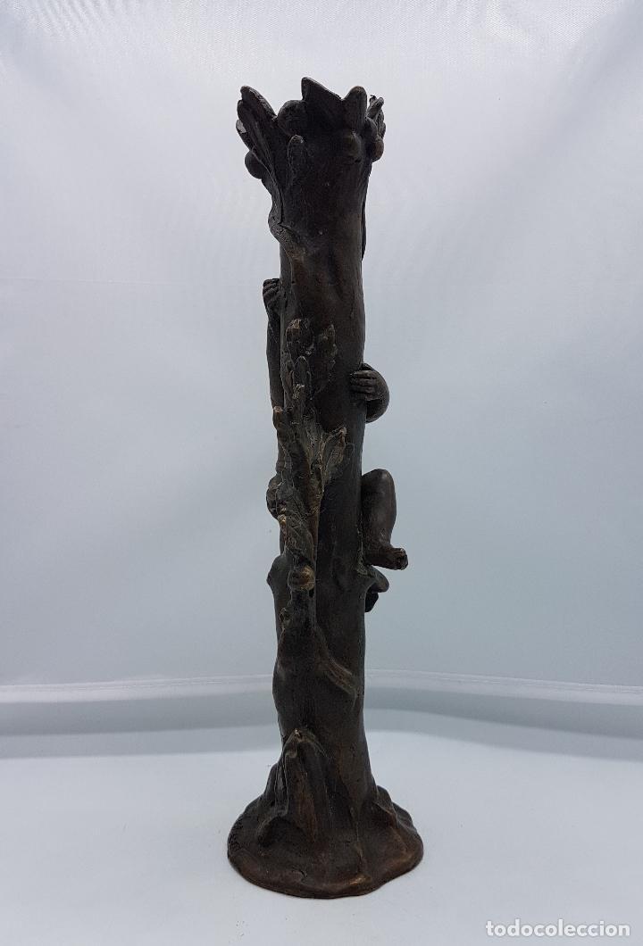 Arte: Bella escultura modernista de bronce ( Querubin subiendo a un arbol ), firmada August Moreau XIX . - Foto 7 - 86532304