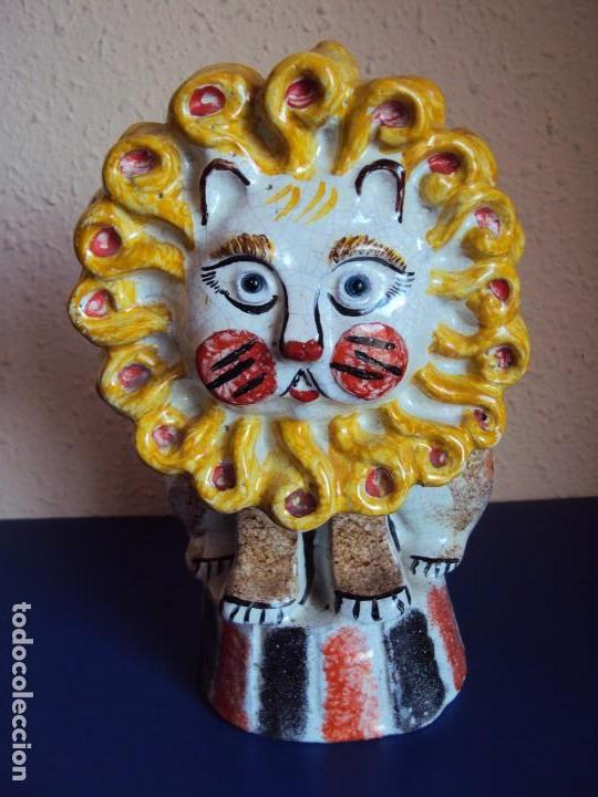 (ANT-170515)EFIGURA LEON DE CIRCO - DAURO (MADRID) (Arte - Escultura - Porcelana)