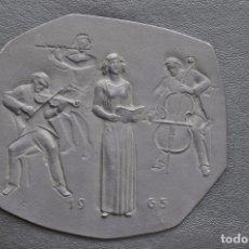Arte: ESCULTURA DE HIERRO , PLACA DE COLGAR . BUDERUS 1965 HEINRICH MOSHAGE , MUSICA . Lote 86933968