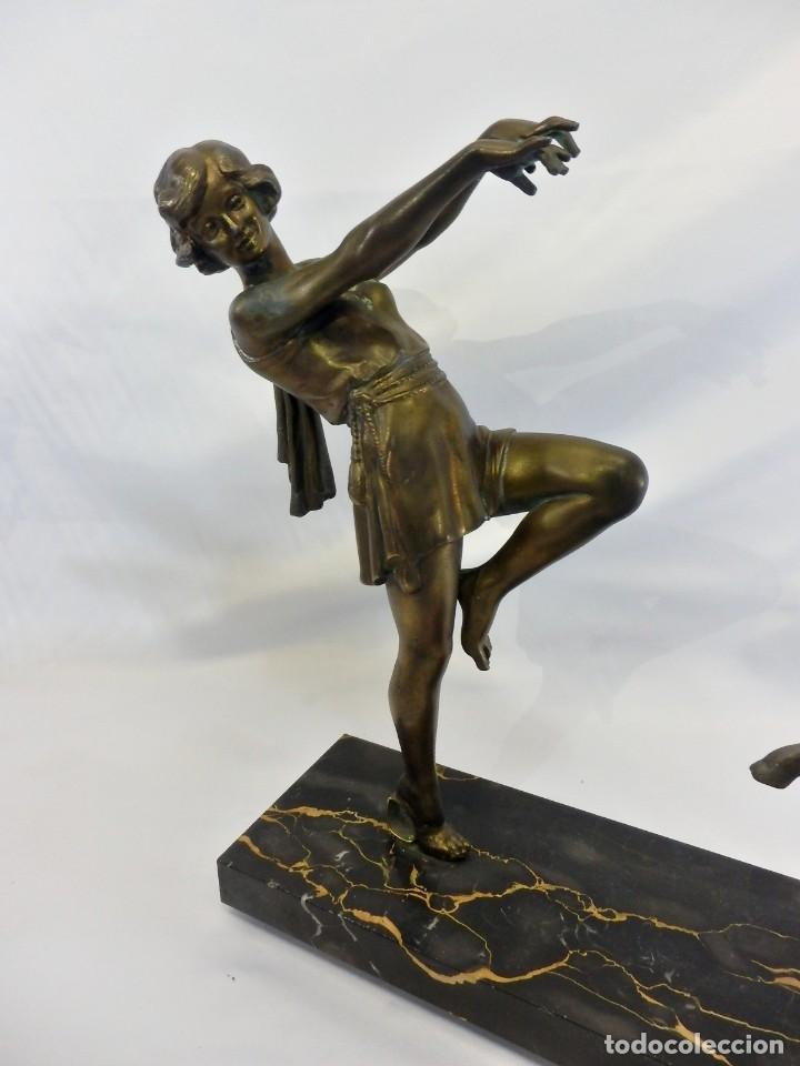 Arte: Emile J. N. Carlier (1849-1927) Danseur toge. Spelter en mármol portoro. Al estilo Godard. Art Decó - Foto 3 - 87002736