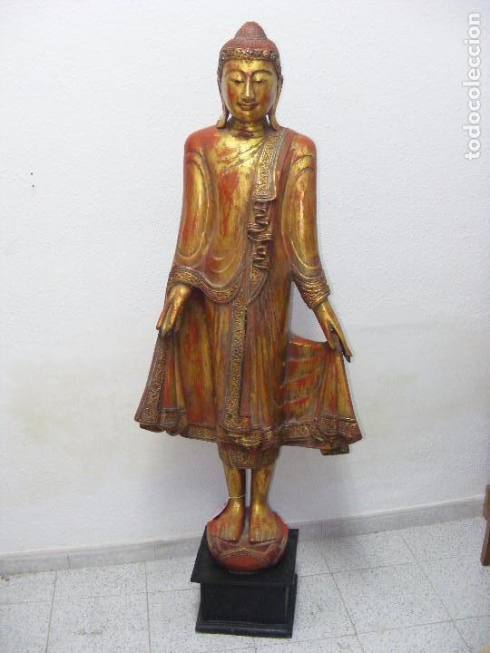 BUDA DE PIE EN MADERA DE TEKA (Arte - Escultura - Madera)