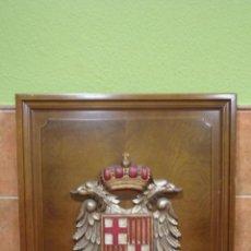 Arte: ANTIGUO ESCUDO DE BARCELONA, MADERA TALLADA POLICROMADA, SOBRE MADERA NOBLE. 109X83 CM.. Lote 87393160