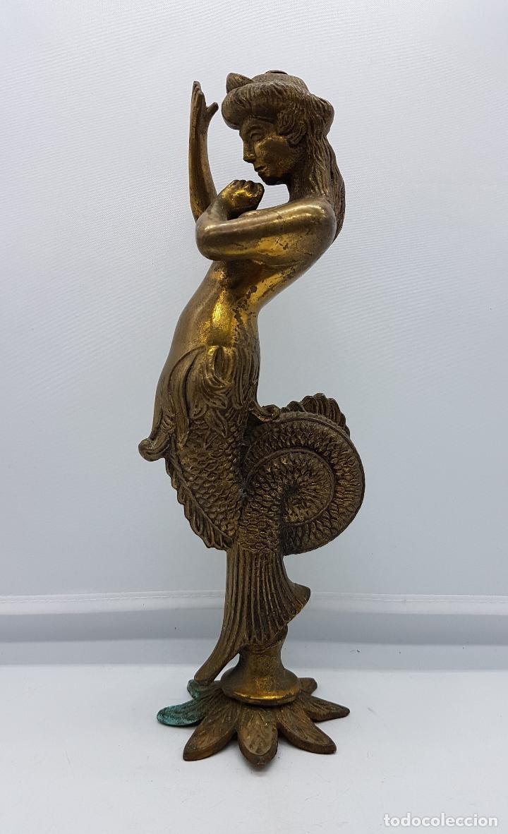ESCULTURA ANTIGUA DE REY DE LA MITOLOGÍA GRIEGA CÉCROPE EN BRONCE MACIZO CINCELADO A MANO . (Arte - Escultura - Bronce)