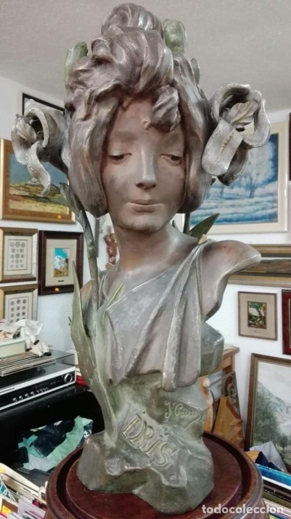 ART NOUVEAU.SIGLO XIX PRECIOSO BUSTO.TITULADO IRIS FIRMADO JULIEN CAUSSE(1869-1914).41 X 22,5 CM. (Arte - Escultura - Bronce)