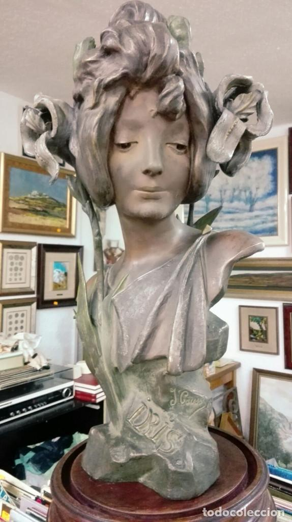 Arte: ART NOUVEAU.SIGLO XIX PRECIOSO BUSTO.TITULADO IRIS FIRMADO JULIEN CAUSSE(1869-1914).41 X 22,5 CM. - Foto 2 - 87717716